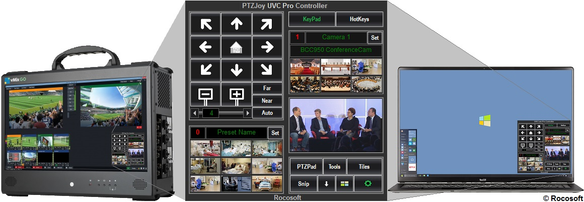 Rocosoft PTZ Controller PTZJoy UVC Pro on vMix, and Laptop