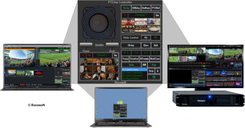 Rocosoft PTZ Controller PTZJoy on TriCaster, vMix, and PC