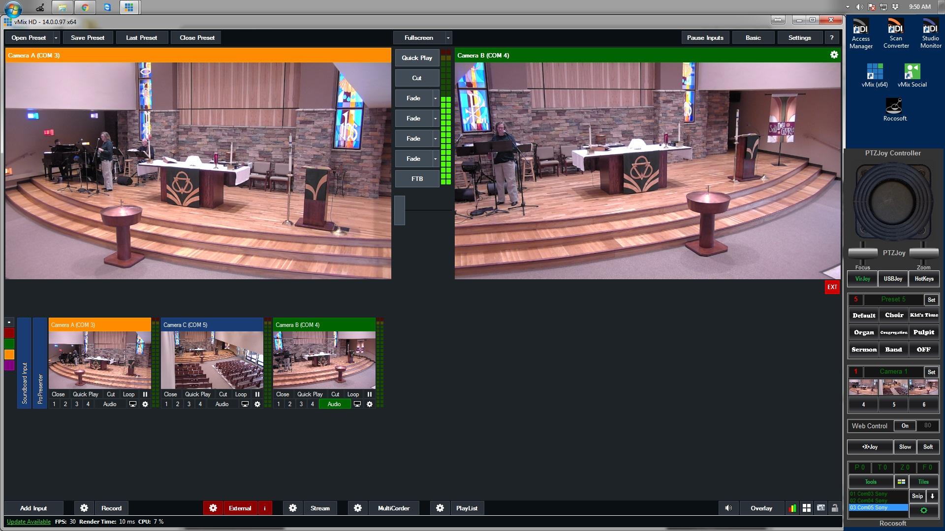 Rocosoft PTZJoy Controller on vMix Screenshot