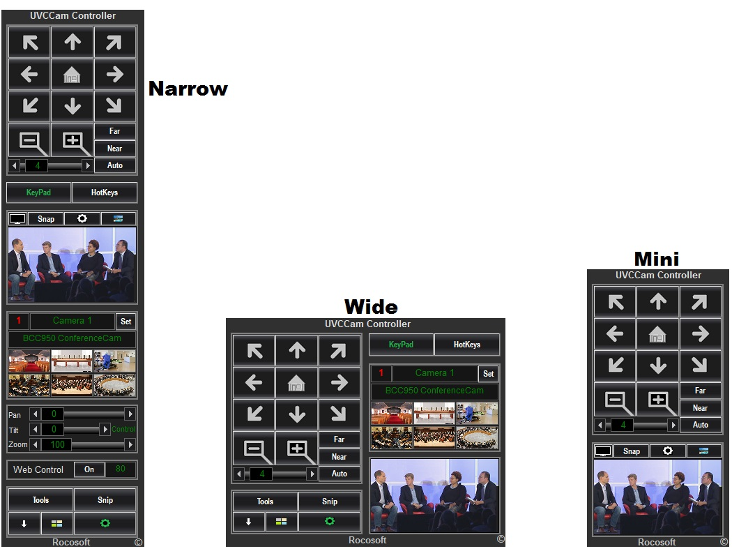 Three modes of Rocosoft Easy UVCCam Controller
