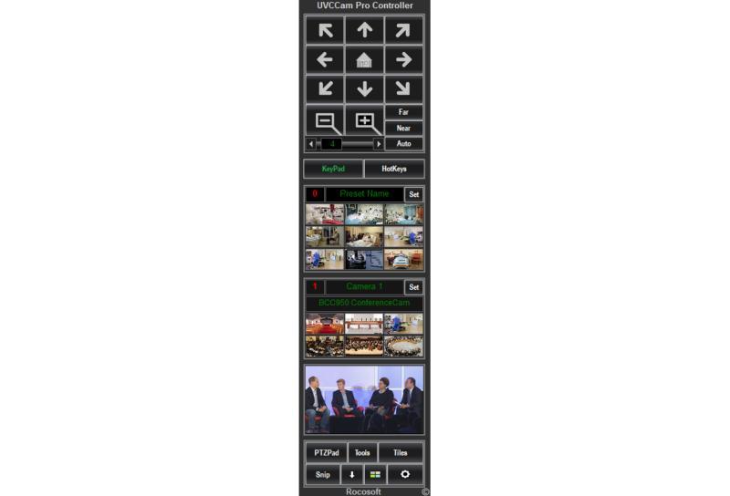 Rocosoft UVCCam Pro UVC PTZ Controller Main Panel