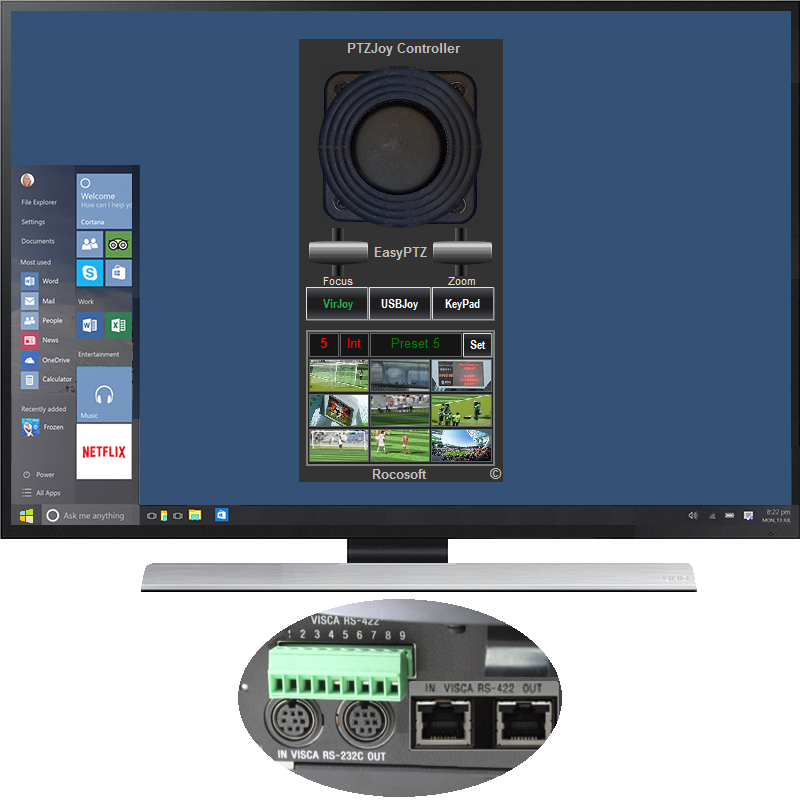 VISCA camera controller software